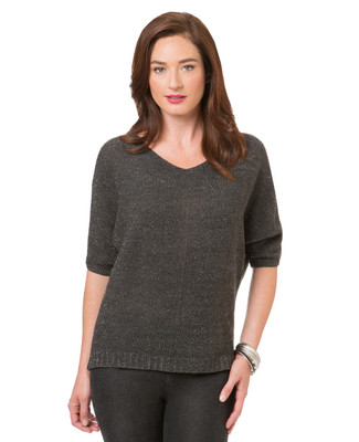 Women's charcoal dolman sleeve top