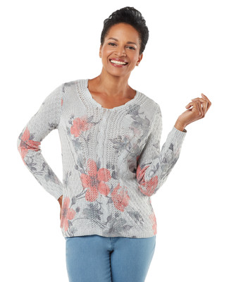Women's grey floral pullover sweater