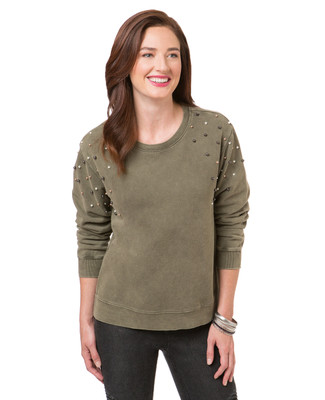 Women's thyme green pearl embellished sweatshirt