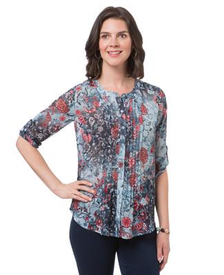 Women's three quarter sleeve button up top