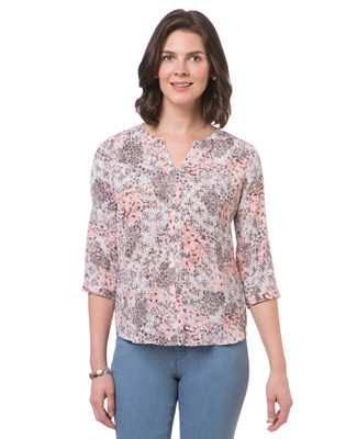 Women's petite three quarter sleeve floral v-neck top