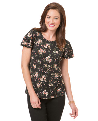Women's floral print top with double layer flutter sleeve