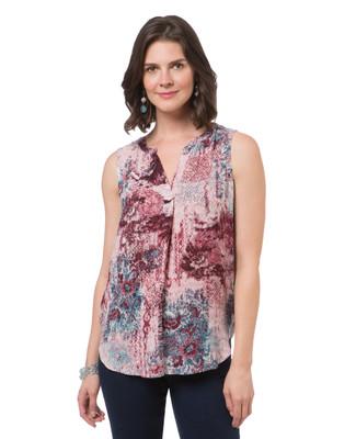Women's red garnet patchwork sleeveless shirt