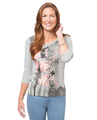 Women's light grey lace-accented scoop neck t shirt