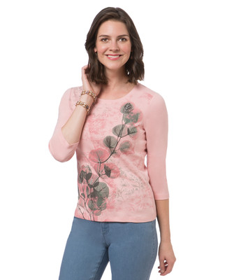 Women's petite faded pink crew neck tee