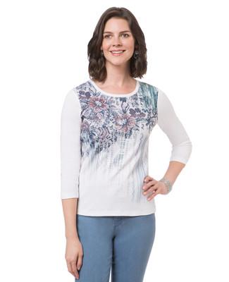 Women's white floral print top