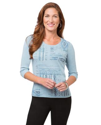 Women's opal blue patchwork print t shirt