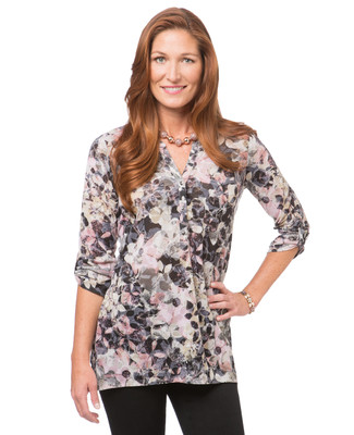 Women's black button up blouse with rolled sleeves