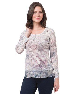 Women's faded pink floral print top