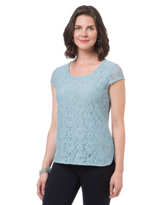 Women's lace trim short sleeve t shirt