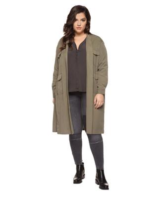Women's thyme green plus size military jacket