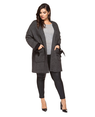 Women's black plus size long cardigan with contrast cuff