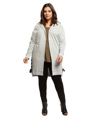 Women's light grey plus size long cardigan with hood