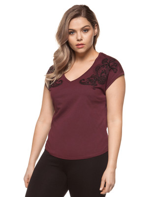 Women's red garnet plus size embroidered tee with gems detail