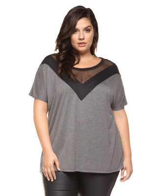 Women's light grey plus size top with mesh insert