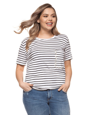 Women's black plus size striped tee with pearl detail