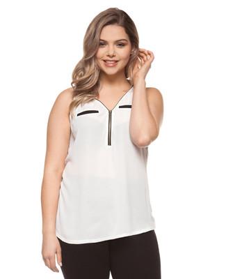 Women's vanilla plus size sleeveless blouse with zipper detail