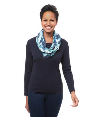 Women's blue stone infinity scarf