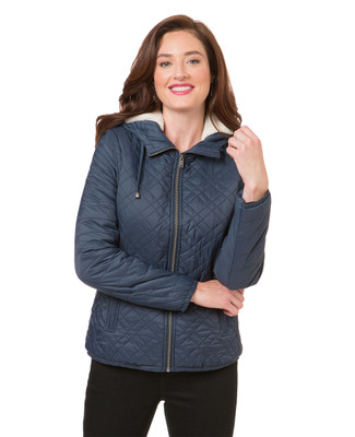 Women's navy puffer jacket with re-moveable sleeves