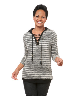 Women's black striped hoodie