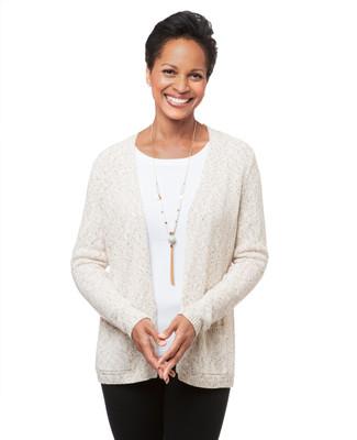 Women's oatmeal open front cardigan sweater