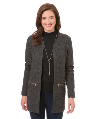 Women's black open zip knit blazer