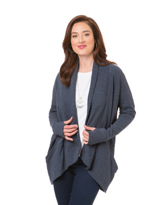 Women's charcoal open front cardigan