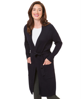 Long Open Cardigan With Tie