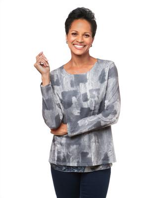 Women's charcoal layered sweater