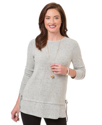 Women's light grey split side sweater