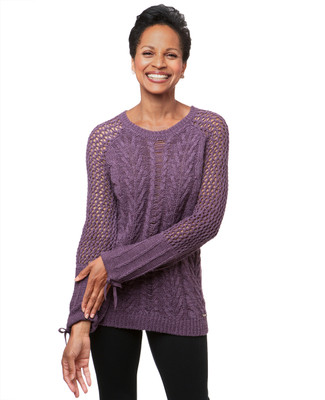 Women's frosted purple pointelle knitted sweater