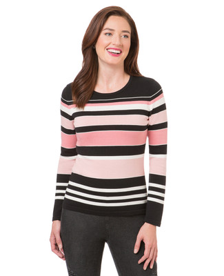 Women's faded pink striped crew neck tee