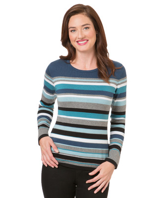 Women's petro blue striped crew neck tee
