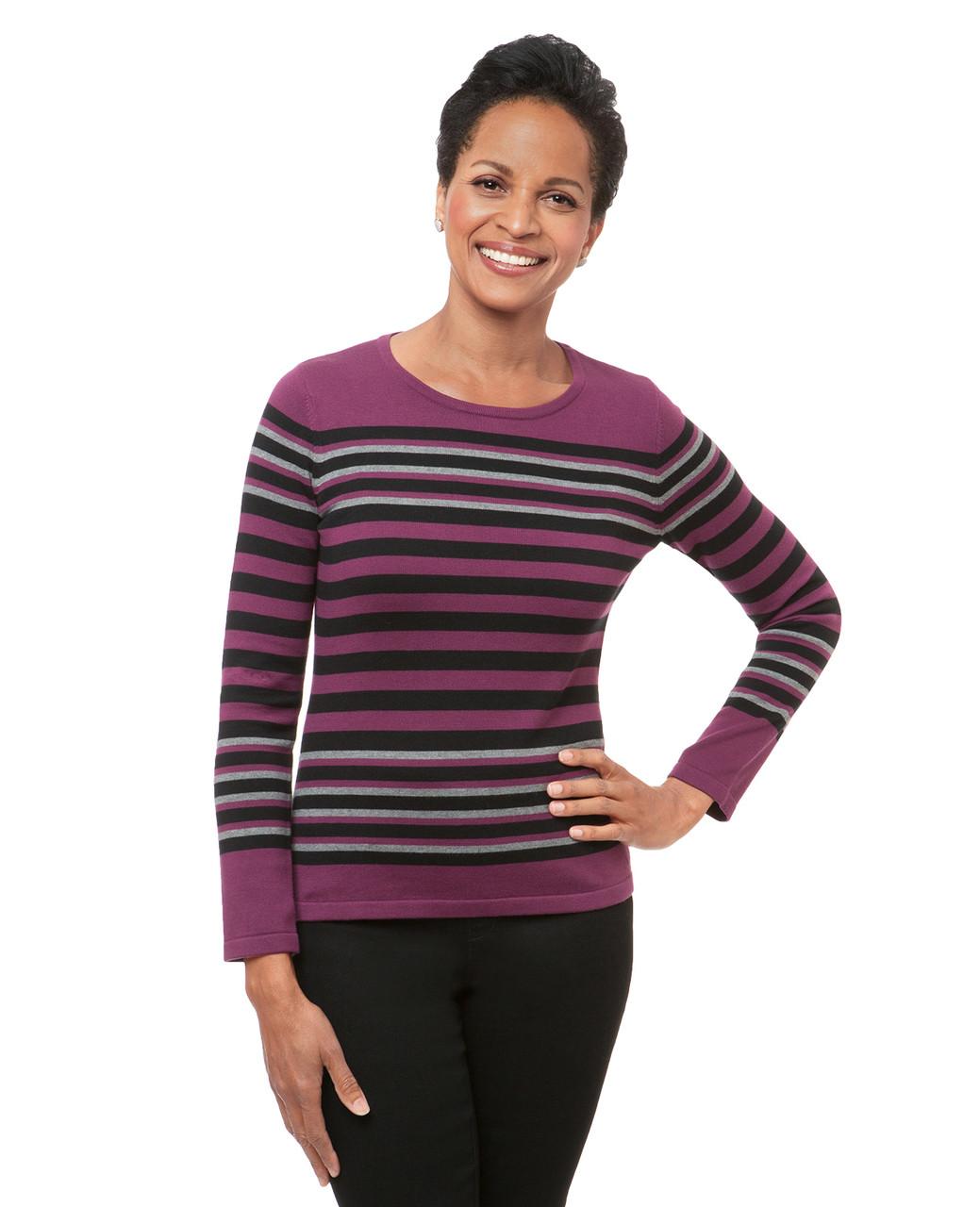 9fb5063b0b Women s purple violet striped crew neck sweater