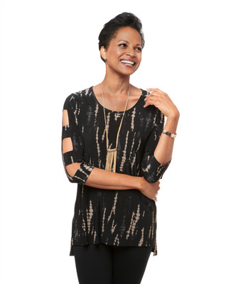 Women's abstract printed top with open lattice sleeve