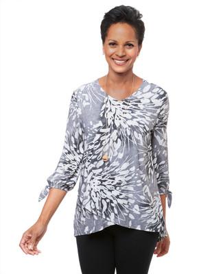 Women's grey tie sleeve blouse
