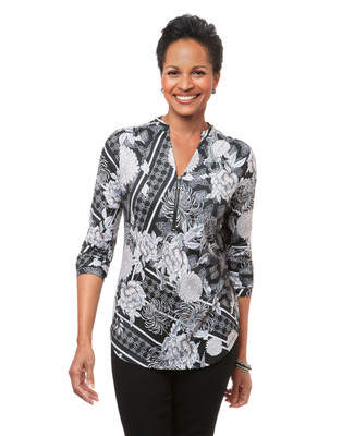Women's black peony printed knit blouse