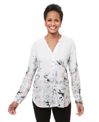 Women's white floral button up blouse