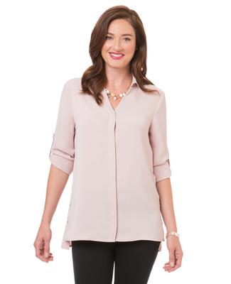 Women's faded pink side slit knit sweater