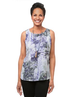 Women's thyme green mystic garden sleeveless blouse