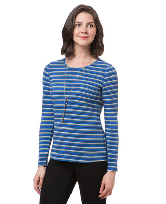 Women's everyday striped long sleeve waffle tee