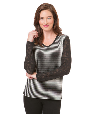 Women's striped knit top with mesh sleeves