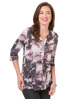Women's purple violet roll sleeve blouse