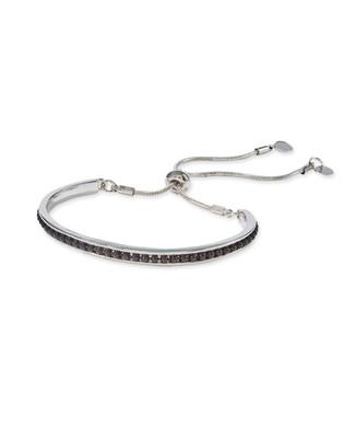 Women's black beads chain slider bracelet