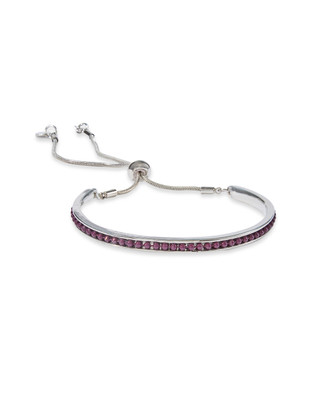 Women's velvet purple beads chain slider bracelet