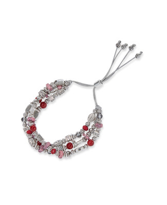 Women's classic charms bracelet with red garnet accents