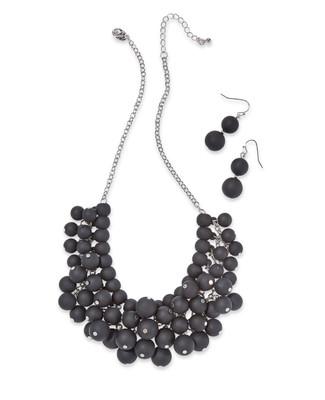 Women's black beaded bib necklace set