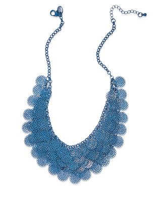 Women's mallard green floral layered statement necklace