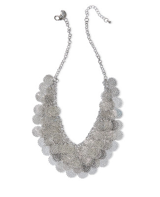 Women's silver floral layered statement necklace