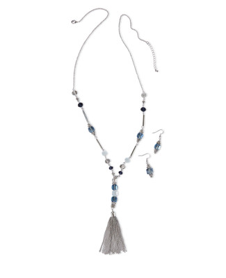 Women's blue goddess tassel necklace